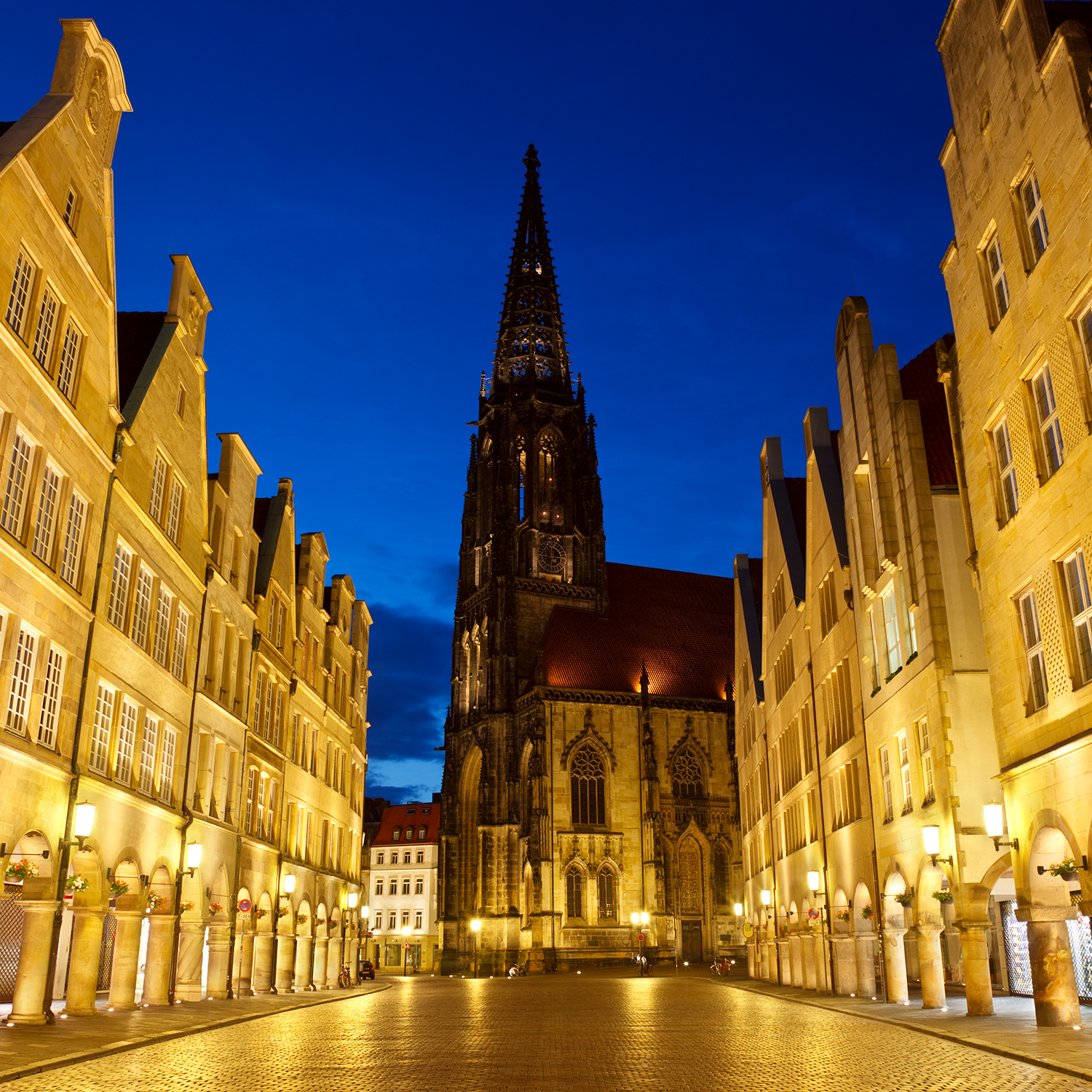 The famous Prinzipalmarkt with the Lamberti Church in Muenster, Germany.